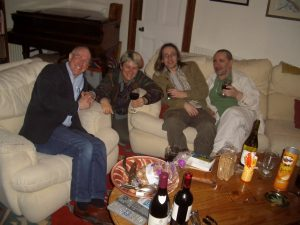Alan, Sue, Larry and Owen, in our living room on a cold winter's day.