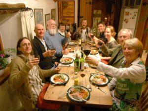 Dinner time with Larry Bull, Stevie Smith, Dan Dennett, Susan Dennett, Jolyon Troscianko, Jonnie Hughes, Emma Rosenfeld, Richard Dawkins and Sue Blackmore.