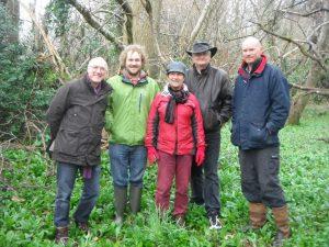 Alan Winfield, Jolyon Troscianko, Sue Blackmore, Martin Farncombe, Stevie Smith in the woods. Memelab 2014