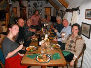 Roast dinner, Emma, Stevie, Pascal, Jolyon, Adam, Martin, Alan and Marina.