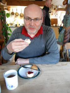 Pascal Jouxtel - a Frenchman having a proper Devon cream tea.